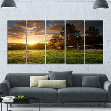 Design Art 'Fenced Ranch at Sunrise' Photographic Print Multi-Piece Image on