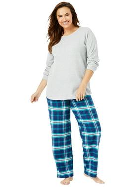 Only Necessities Women's Plus Size Thermal PJ Set  Pajamas