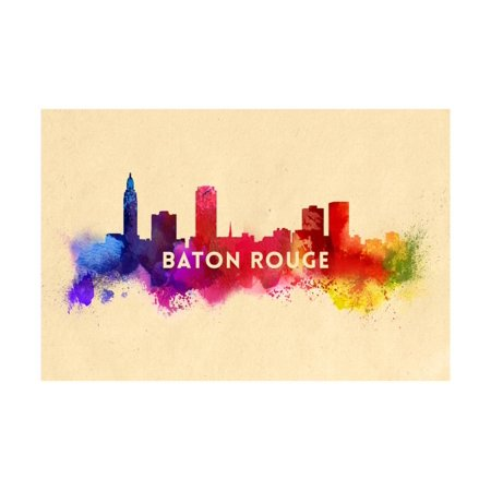Baton Rouge, Louisiana - Skyline Abstract Print Wall Art By Lantern Press - Party Time Baton Rouge
