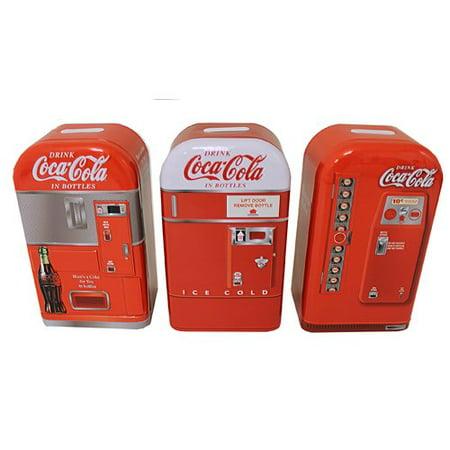 - Tin Box Company Coca-Cola Replica 3 Piece Piggy Bank Set