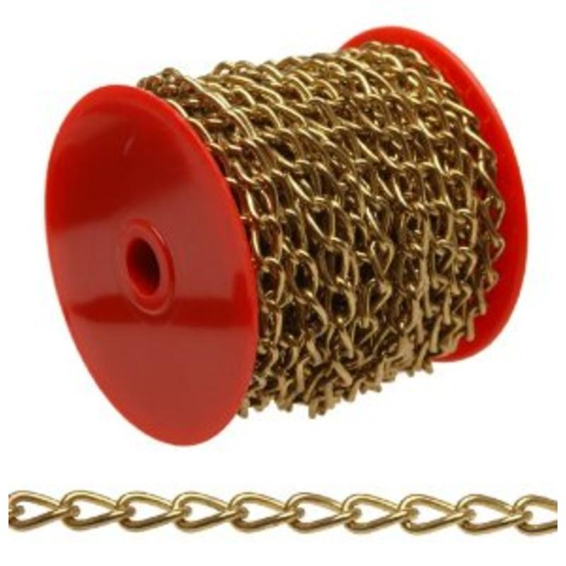 Brass Plated 50' Roll Of Decorative Small Twist Chain, Working Load Limit 3Lbs