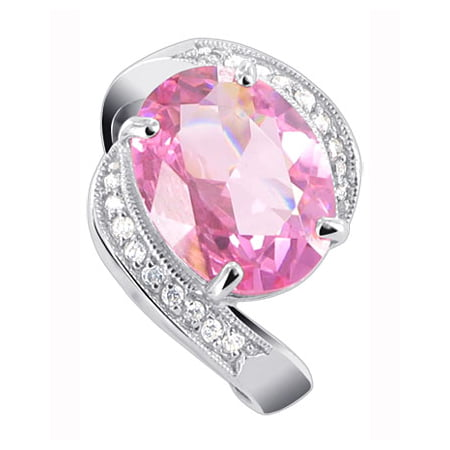 Gem Avenue 925 Sterling Silver Pink Cubic Zirconia Solitaire Ring