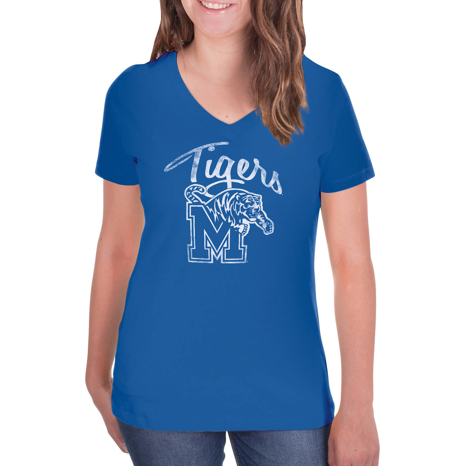 NCAA Memphis Tigers Women's V-Neck Tunic Cotton Tee Shirt