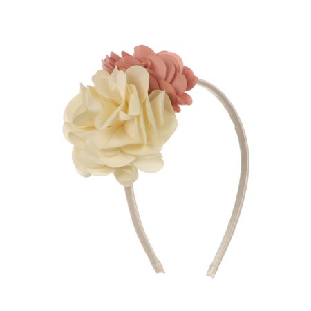 Kids Dream Girls Dusty Rose Ivory Satin Flowers Headband