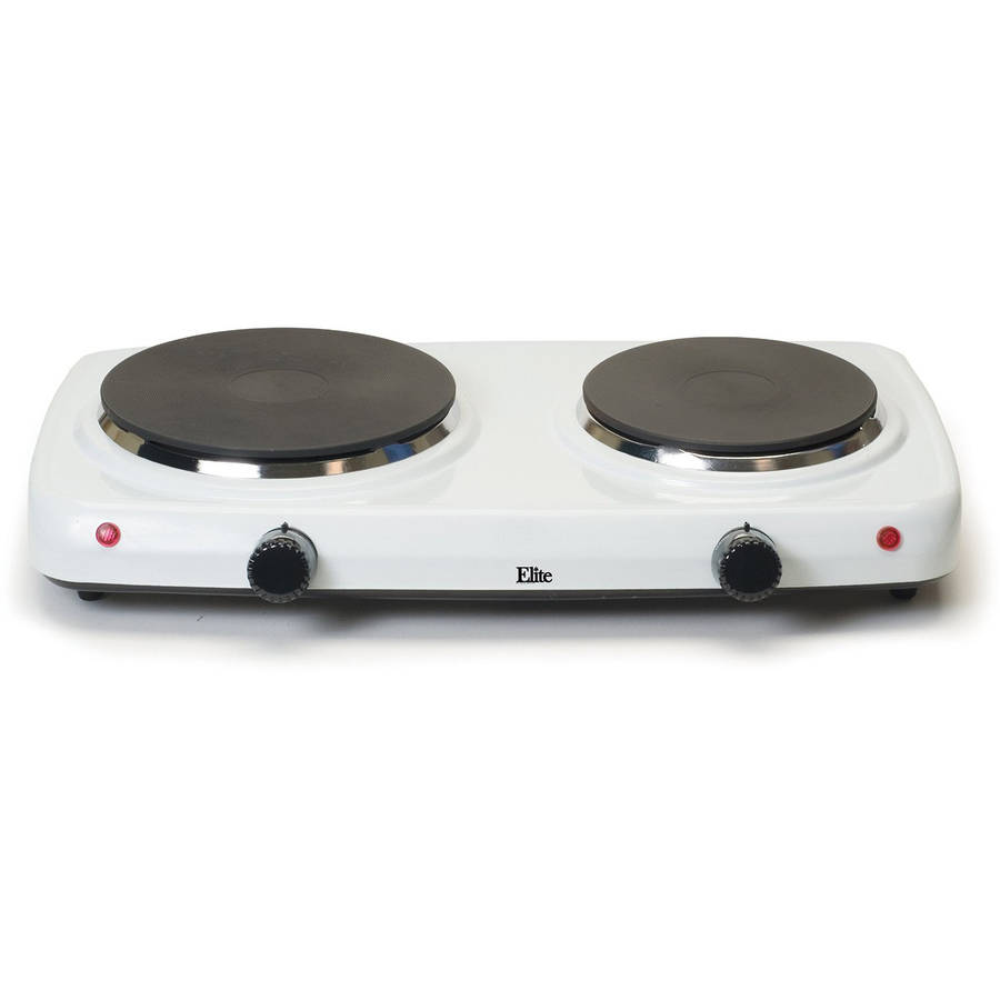 Elite Cuisine Electric Double Cast Burner Hot Plate EDB 302F, White