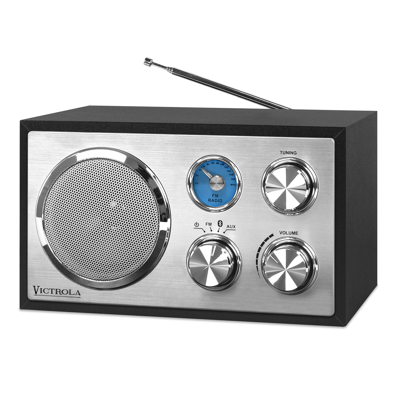 Best Desktop Radios - Victrola Wooden Desktop FM Radio with Bluetooth, Black Review