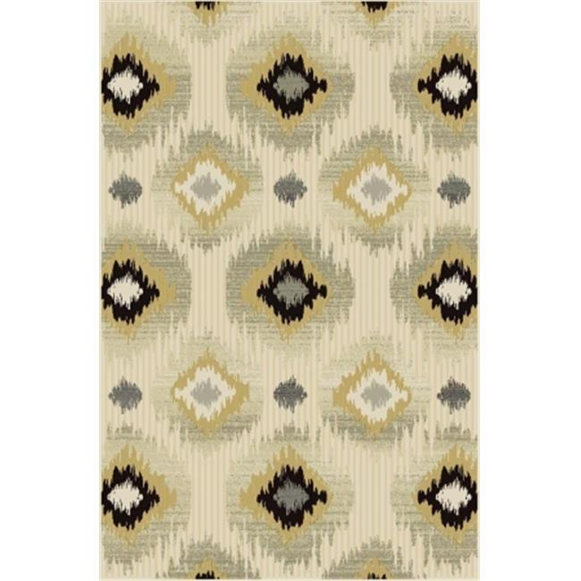 Central Oriental 9002PE58.061 Paris Citron 061 Micah 100 Percent Heat Set Polypropylene Rug, Pearl - 5 x 7 ft. 6 in.