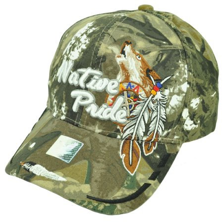 Native Indian American Pride Wolf Camouflage Green Hat Cap Adjustable Feather