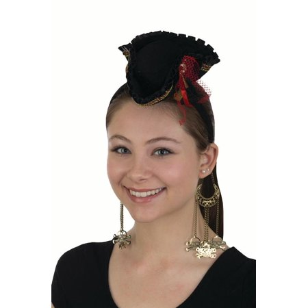 Womens Mini Pirate Hat Headband Skull Accent with Earrings Costume Accessory Set