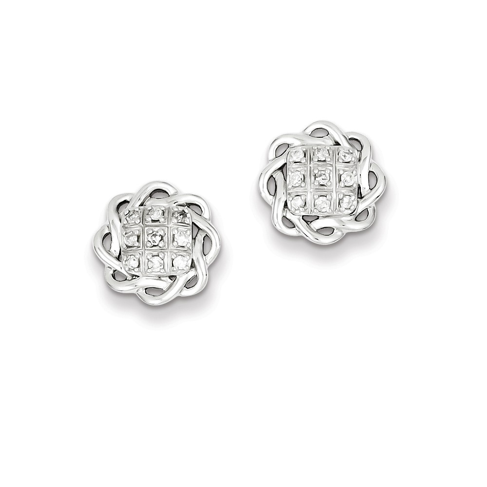 Sterling Silver Rhodium Plated & Diamond Post Earrings. Carat Wt- 0.15ct (0.4IN x 0.4IN )