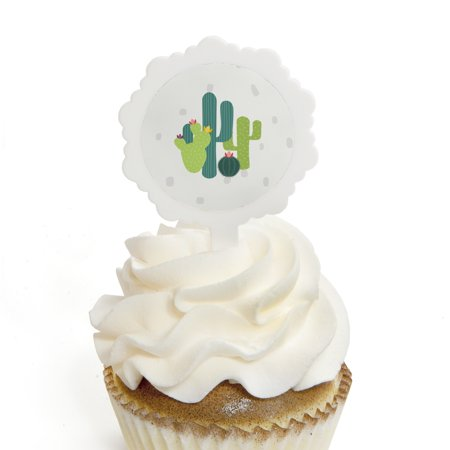 Prickly Cactus Party - Cupcake Picks with Stickers - Fiesta Party Cupcake Toppers - 12 Count