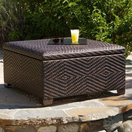 Surprising Davis Wicker Brown Indoor Outdoor Storage Ottoman Ocoug Best Dining Table And Chair Ideas Images Ocougorg