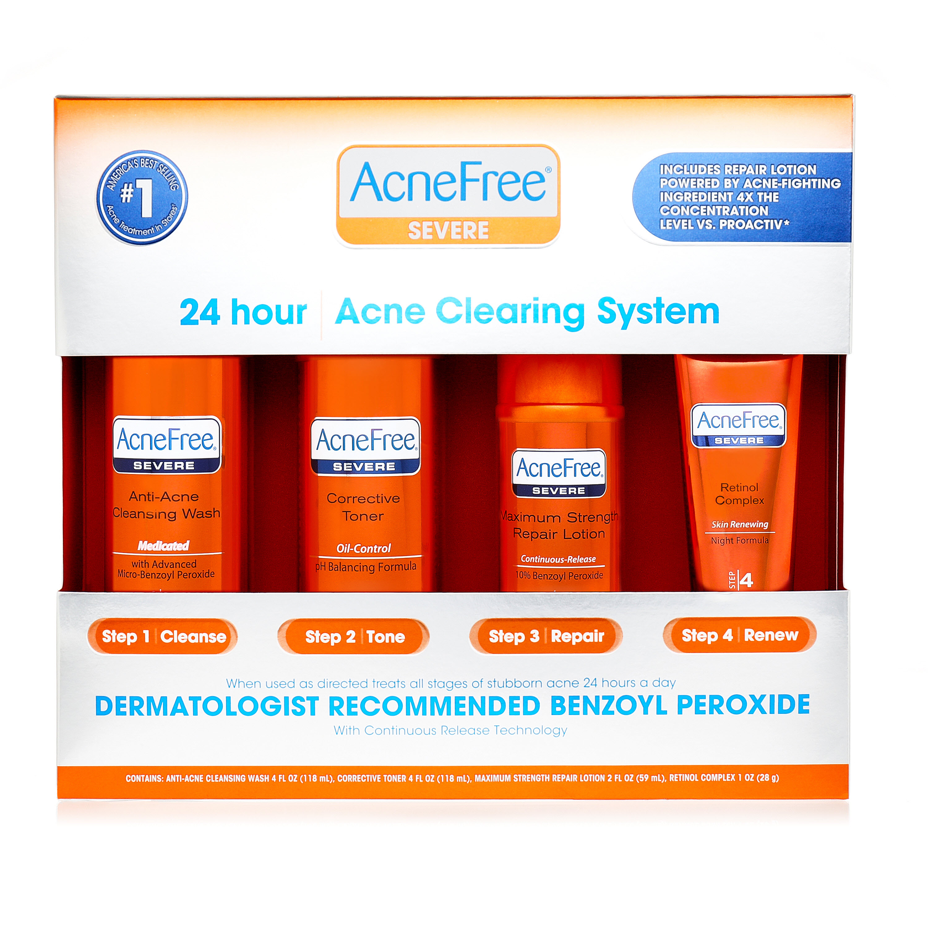 AcneFree 24 Hour Acne Clearing System for Severe Acne with Benzoyl Peroxide and Retinol - 4 CT