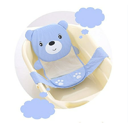 Yosoo Adjustable Thicken Newborn Baby Bath Seat Support Net Bathtub Sling Shower Mesh Bathing Cradle Rings for Tub (Blue