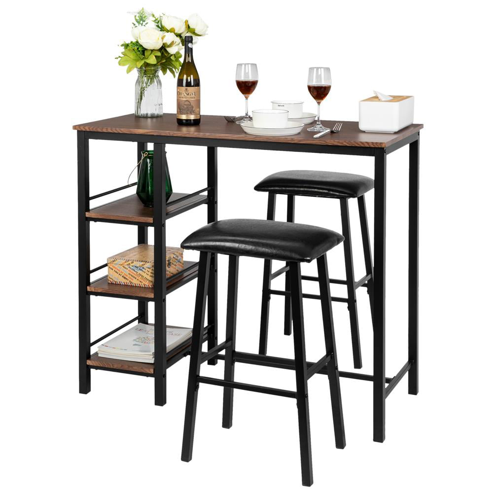 zimtown 3piece dining set compact 2 chairs and table set