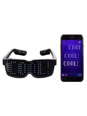 CHEMION - Customizable Bluetooth LED Glasses for Raves, Festivals, Fun, Parties, Sports, Costumes, EDM, Flashing - Display Messages, Animation, Drawings