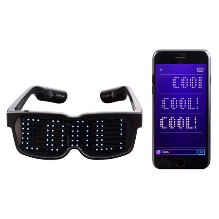 CHEMION - Customizable Bluetooth LED Glasses for Raves, Festivals, Fun, Parties, Sports, Costumes, EDM, Flashing - Display Messages, Animation, Drawings](Party At Display And Costume)