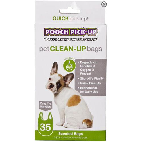 Pooch Pick-Up Bags D2W Plastic Bags-Color:Green,Quantity:35 Count