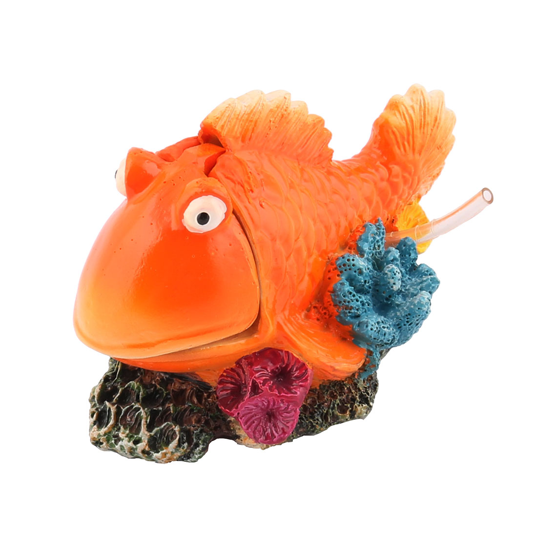 Unique Bargains Aquarium Fish Tank Artificial Decor Polyresin Fish Shaped Spit Bubble Orange