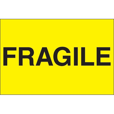 7 Inch Semi Gloss Labels - DL1057 Fluorescent Yellow 2 Inch x 3 Inch Fragile Semi-Gloss Coated Paper Labels Made In USA ROLL OF 500