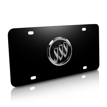 Buick 3D Logo on Black Steel License Plate ()