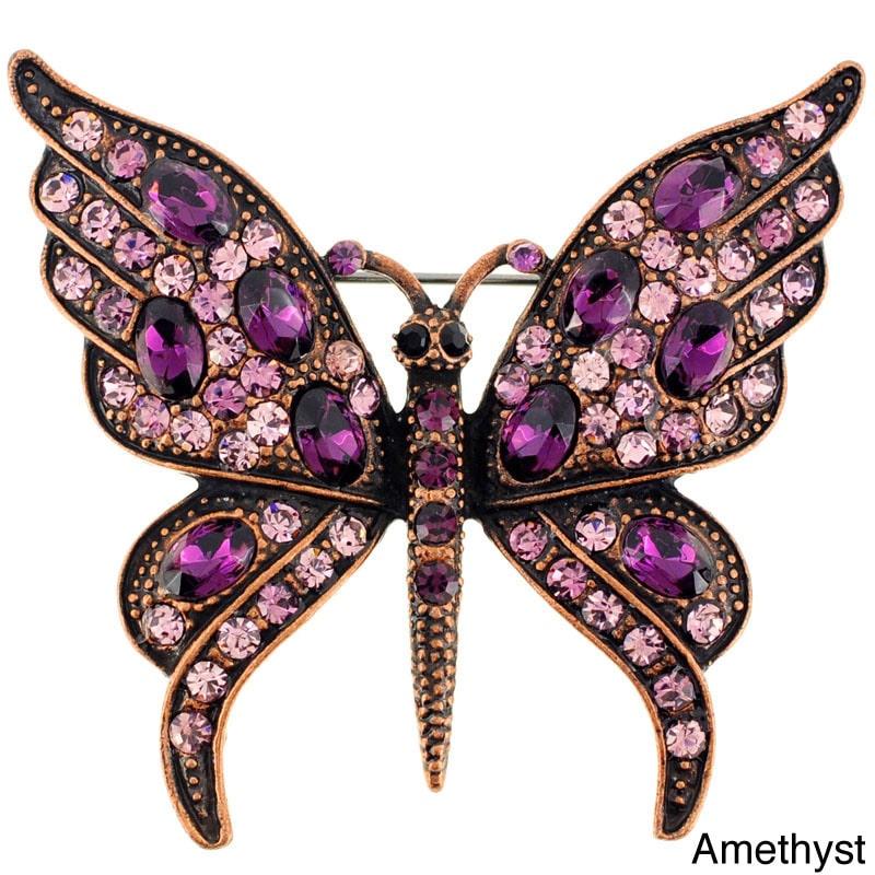 Fantasyard Amethyst Crystal Butterfly Pin Brooch by Overstock