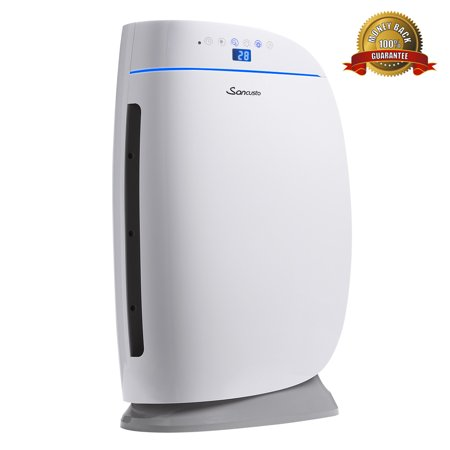 Sancusto Air Purifier, True HEPA Air Cleaner for 323-538 sq.ft Room, CADR Rated 235CFM, with Air Quality Monitor Display, Controller and Timer for Home and