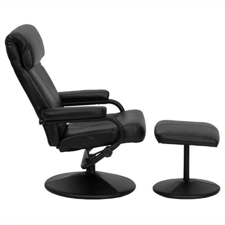 Flash Furniture Palimino Recliner and Ottoman in Black with Base - image 2 of 4