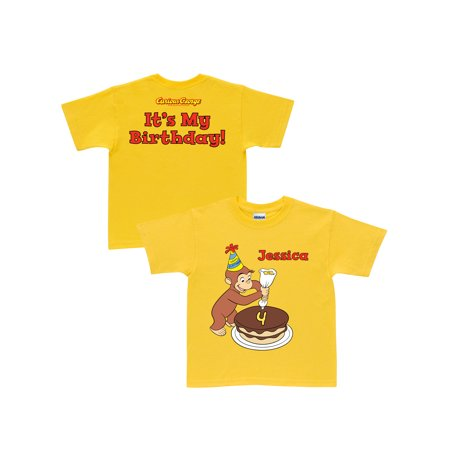 Personalized Curious George It's My Birthday Toddler Yellow T-Shirt In Sizes: 2t, 3t, 4t, 5/6t (Today It's My Birthday)