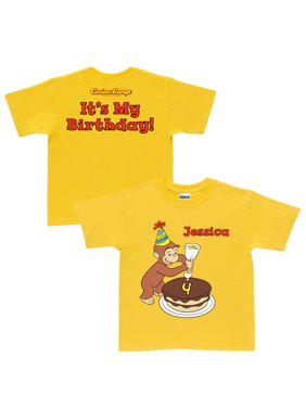 47a6855f46a1de Product Image Personalized Curious George It's My Birthday Toddler Yellow T- Shirt In Sizes: 2t,