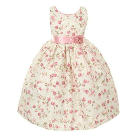 Pink Satin Rosette - Girls Pink Jacquard Floral Printed Satin Rosette Sash Easter Dress 12