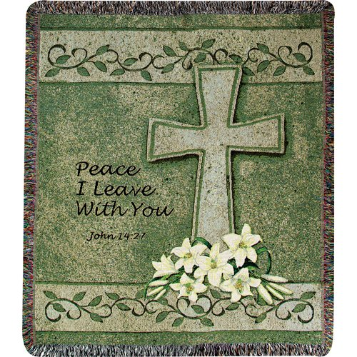 Manual Woodworkers & Weavers Peace I Leave with You Tapestry Cotton Throw