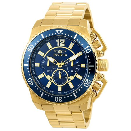 Invicta Pro Diver Chronograph Blue and Gold Dial SS Quartz Mens Watch 21954