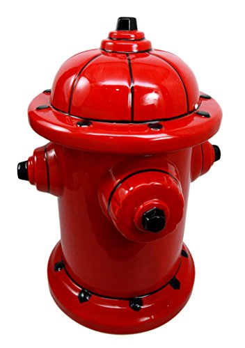 "Atlantic Collectibles Ceramic Fire Hydrant Treat Cookie Jar Decorative Figurine 10""H by Atlantic Collectibles"