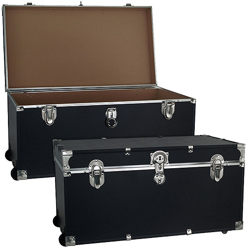 Seward Trunk Trooper Footlocker Trunk 34 Gal. Wood Storage Box with Handle, Black