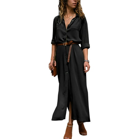 Casual Style Solid Color - Lapel V Neck Button Shirt Dresses for Women Maxi Long Sleeve Casual Solid Color Loose Boho Tea Dress Side Split Sun Dress
