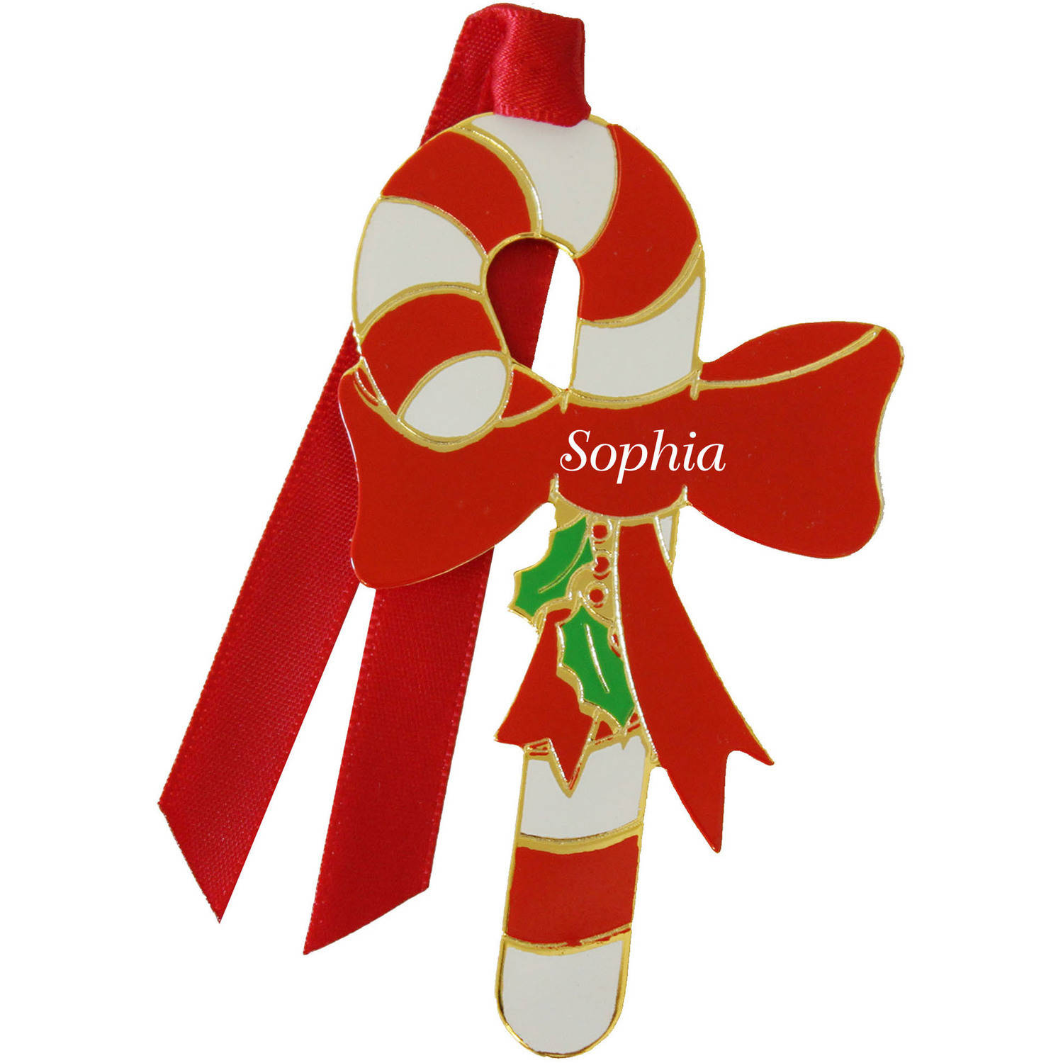 Gloria Duchin Personalized Enamel Candy Cane Ornament, Girl