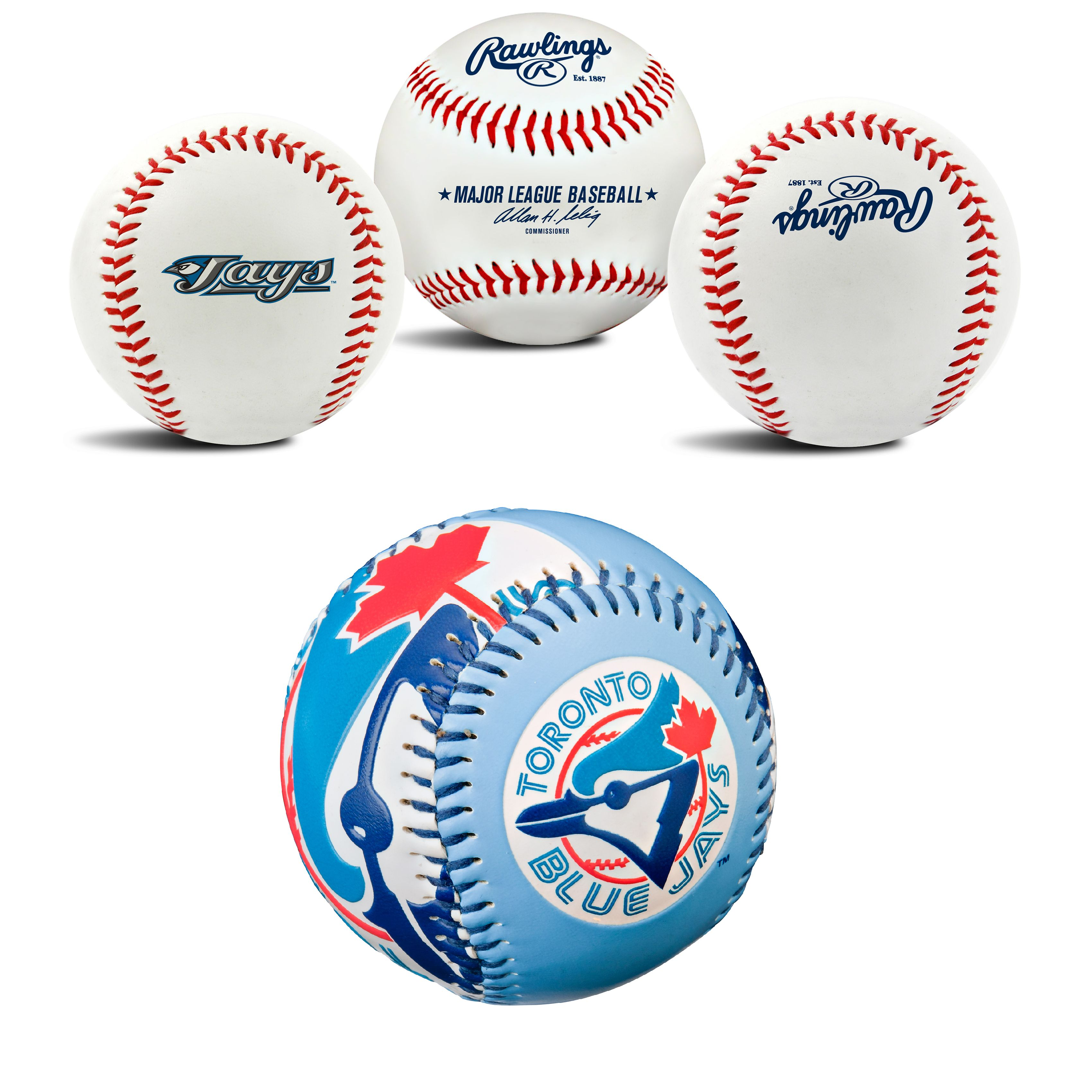 Toronto Blue Jays MLB Retro and Team Logo Authentic Baseballs Bundle 2 Pack