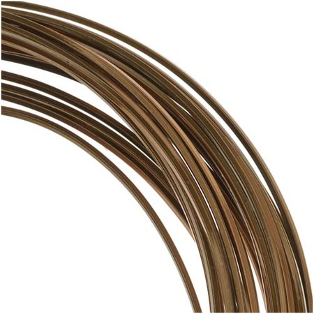 BeadSmith Non-Tarnish Vintage Bronze Plated Copper Square Craft Bead Wire 21Ga (21Ft)