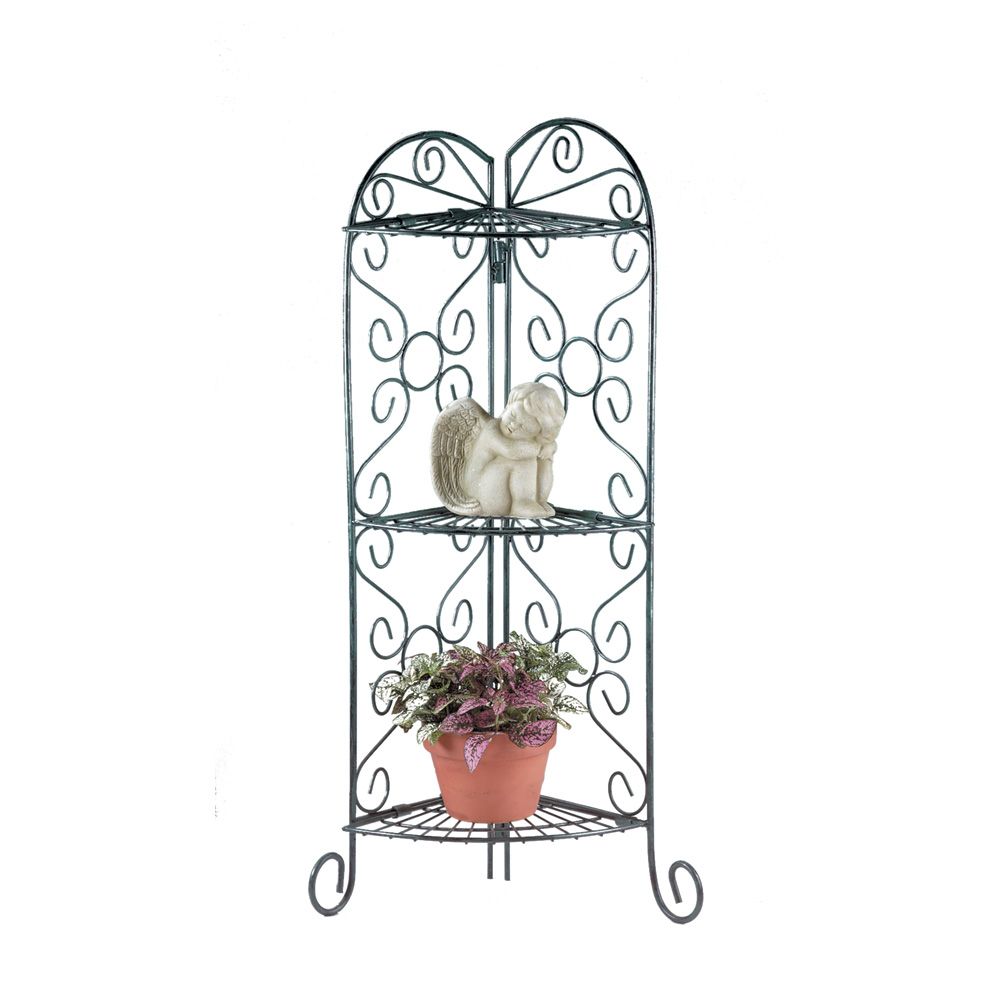 3 Tier Plant Stand, Faux Verdigris Metal Outside Plant Stand by Summerfield Terrace
