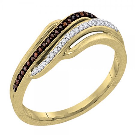 0.12 Carat (ctw) 10K Gold Round Champagne & White Diamond Ladies Cocktail Right Hand Ring (10k Gold Cocktail Rings)