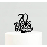 70th Birthday / Anniversary Blessed Years Cake Decoration Topper