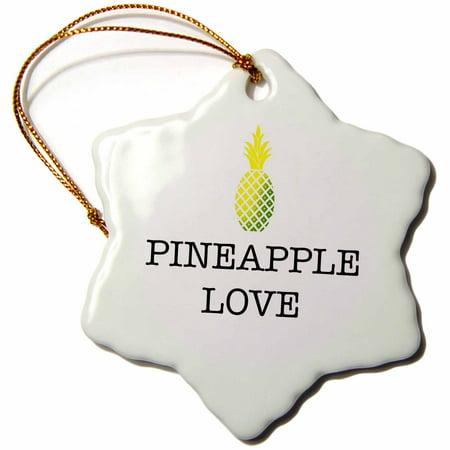 Christmas Pineapple - 3dRose PINEAPPLE LOVE - Snowflake Ornament, 3-inch