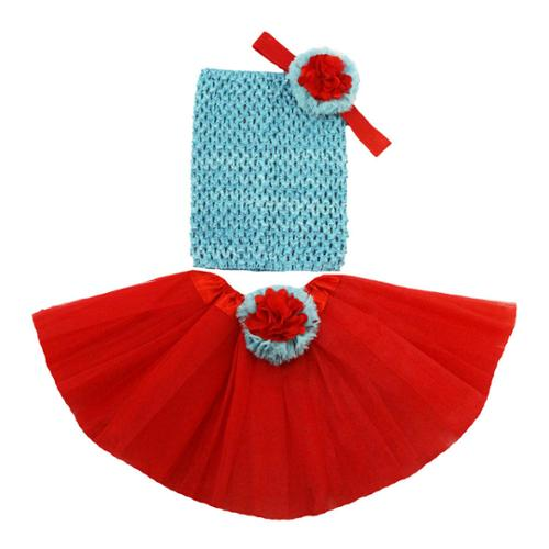 Little Girls Red Turquoise Flower Tutu Skirt Headband Set 2-8Y