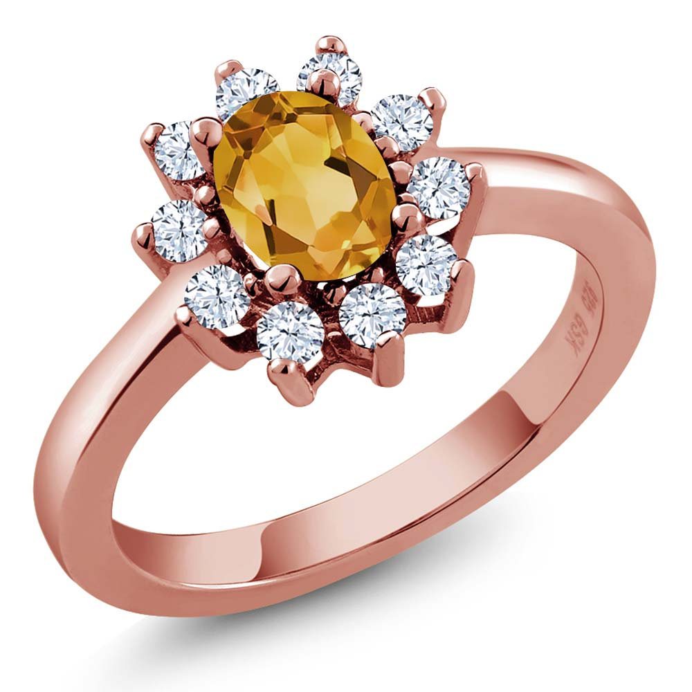 1.00 Ct Oval Yellow Citrine White Topaz Rose Gold Plated Sterling Silver Ring