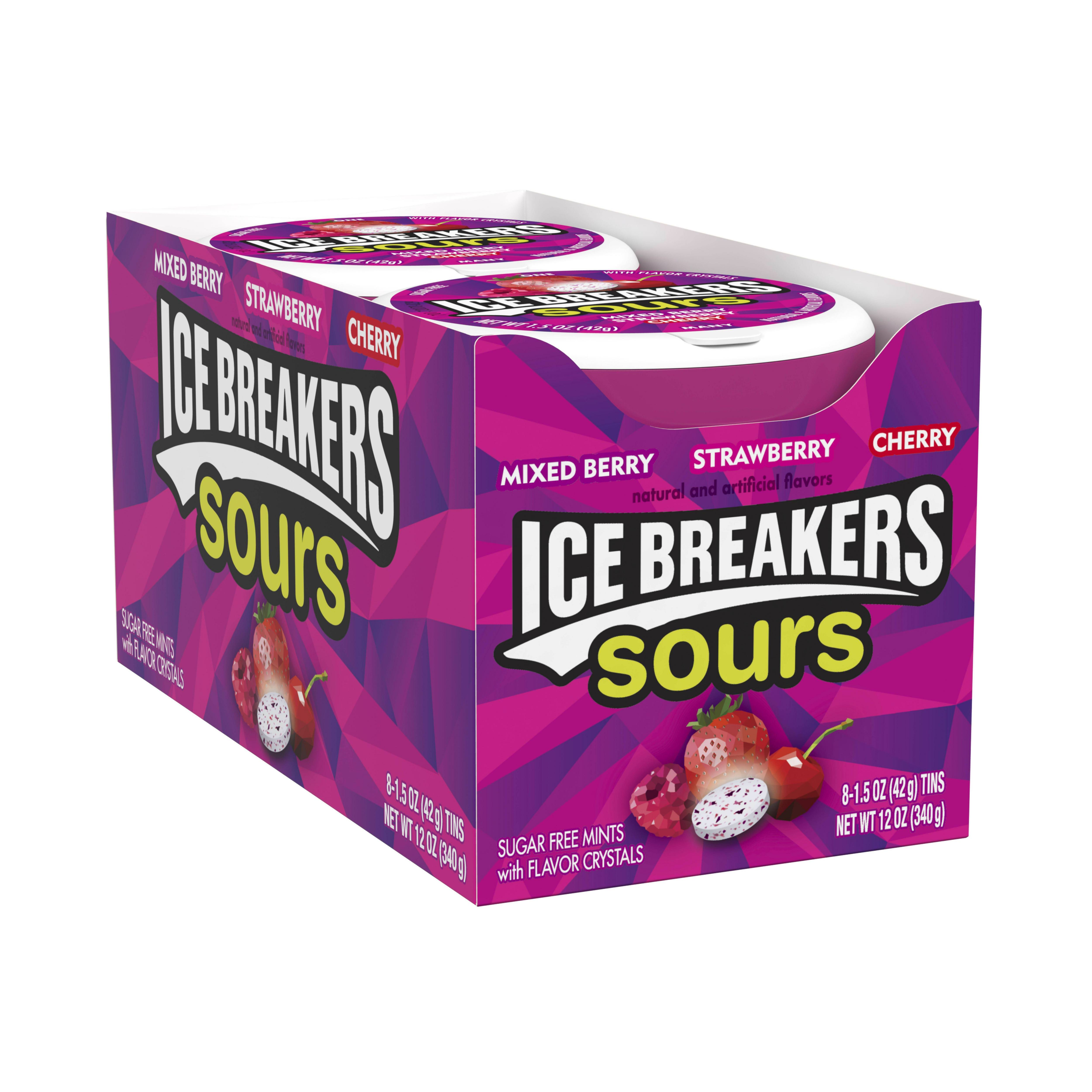 Ice Breakers, Sours, Sugar Free Assorted Berry Breath Mints, 1.5 Oz, 8 Ct