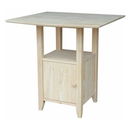 International Concepts T-3638Dpg Dual Drop Leaf Bar Height Bistro Table with Storage, Ready To Finish