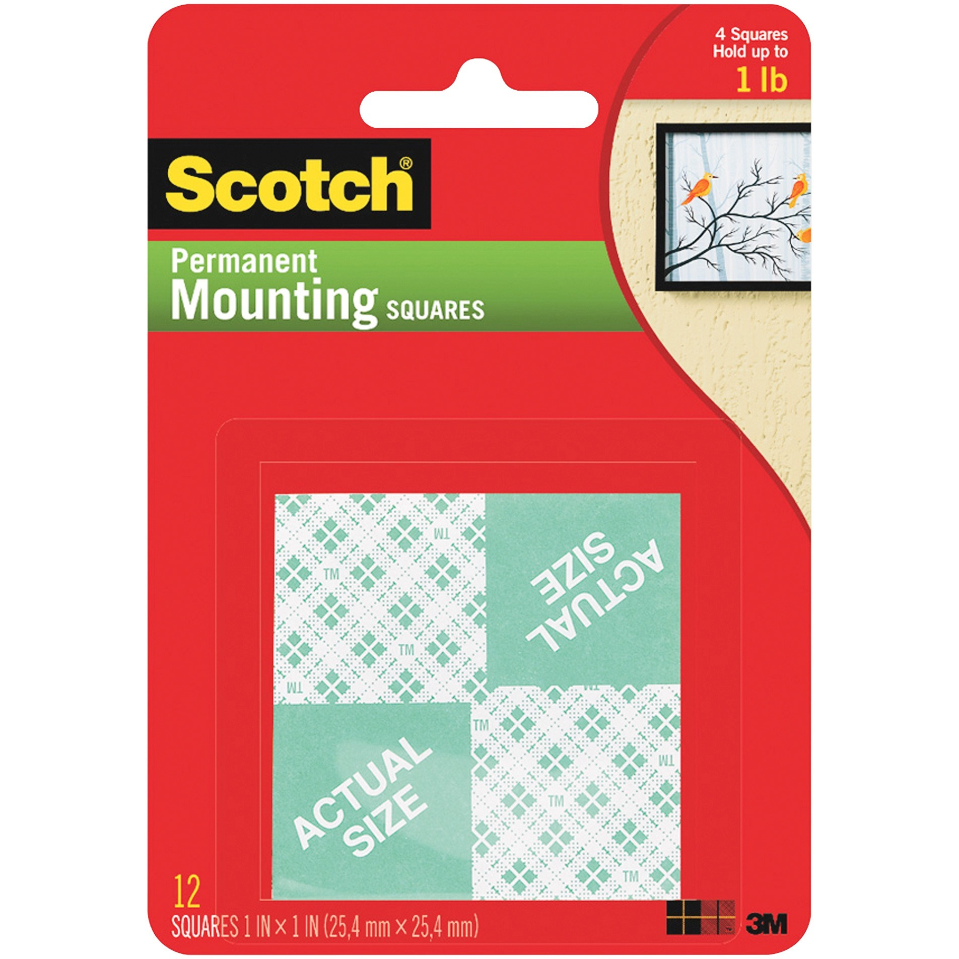 Scotch, MMM111, Foam Mounting Squares, 16 / Pack, White