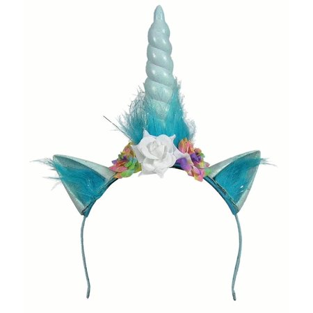 Adult Womens Unicorn Horn And Ears With Flowers On Headband Halloween Accessory