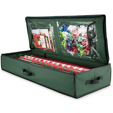 Material Box - Zober Christmas Wrapping Paper Storage Box With Inside Pockets, 600D oxford material Stores Up To - Rolls, Slim Underbed Holiday Wrapping Paper Storage 14 x 40 x 6 inch (Green)